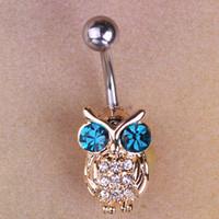 achat en gros de piercings fille-20piece Gold Owls Blue Piercings Oiseau Nombril Anneau du ventre Sexy Bikini Body Bijoux Femmes Anneaux bouton ventre Vacances d'été Bijoux
