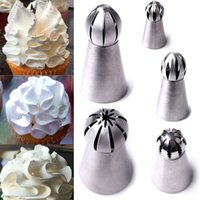 Wholesale 5Pcs Set Different style Russian Ball Straight Sphere Tips Stainless Steel Icing Piping Nozzles Tip Pastry tools Dessert Decorators