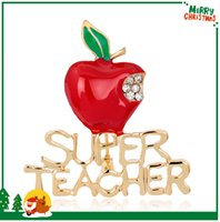 apple brooch pin - AL064 A Christmas Gift For Supper Teacher Inlay Clear Rhinestone Brooch Pins Popular American Gold Plated Alloy Metal Apple Brooches