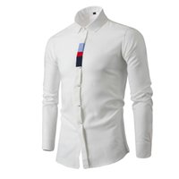 Wholesale PHSH new fashion business men slim long sleeve shirts solid color
