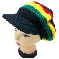 Casual fancy crochet hats - Knitted Jamaican Reggae Rasta Flat Brim Hat Handmade Crochet Fancy Dress Dancing Halloween Visor Beret Cap