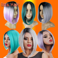 Wholesale synthetic ombre hair Wig Heat Resistant fiber two tones color blonde wig ladies short bob wigs for white woman pieces