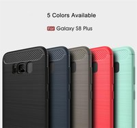 Slim Armor Funda para iPhone 7 7 Plus 6 5S SE galaxia S8 Plus S7 borde Fibra de Carbono cepillado TPU Soft Back Cover