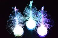 Wholesale Colorful flash Christmas tree Optical fibers light decorative lamp Festive mood regulation children gift PVC materia l