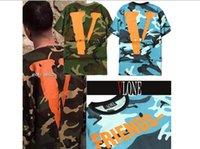 Wholesale Sponge mice High Quality Mens Camo Vlone Friends T Shirt Cotton Camouflage Hip Hop Big V Letter Vlone men T Shirts
