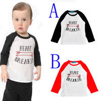 Wholesale little girl t shirt fashion letter heart toddler girl boy t shirt autumn cute cartoon arrow kids t shirts for baby clothes