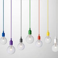 lumières suspendues au plafond led achat en gros de-Art Decor Silicone E27 Pendentif Lampe de plafond Support Holder Suspension d'éclairage Fixture base Socket Gel de silice moderne retro Muuto coloré