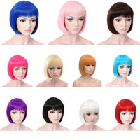 Wholesale New Women s Lady Sexy Full Bangs Wig Short Wig Straight BOB Hair Wigs Cosplay Party Synthetic Wigs