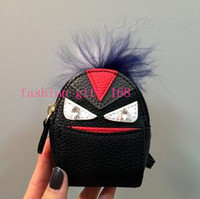 Wholesale New Brand Multifunction Coin Purse Wallet keyring cartoon monster bag keychain mini leather backpack keychain key chain