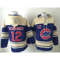 Wholesale Chicago Cubs Kyle Schwarber Blue Hoodie Baseball Sweater Top Quality Hoodies Men s Sweaters Lace Up Pullover Hooded Sweatshirt