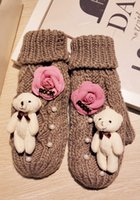 Vente en gros- Lovely Little Bear Keep Warm Wool Increase Down Glove Rock Camellia Épaississant Tricot Ligne Sika Package Gants de gant de doigts
