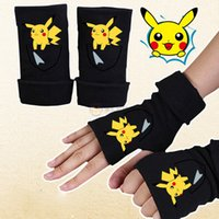 bicycle pokemon - 5 Style Poke Half Finger Gloves Black Color Pikachu Bicycle Sport Mittens Children Adult Cotton Glove