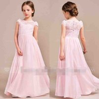Wholesale Cheap Pink Lace Chiffon Flower Girls Dresses For Wedding Jewel Neck Floor Length Boho Garden Beach Style First Communion Dresses Under