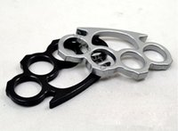 Wholesale Silver and Black Thin Steel Brass knuckle dusters Self Defense Personal Security Women s and Men s self defense Pendant Free