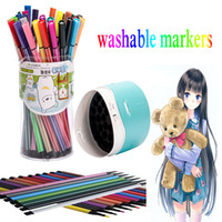 Wholesale 12 color watercolor pen set children s drawing pen can be washing crayons water color marker manga brush pen papelaria cwp