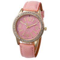 al por mayor de cuero de moda-13Colors Vogue Mujer relojes Ginebra Relojes de pulsera Cristal Dial Cuarzo reloj Analog PU Cuero Pulsera Relogio Feminino