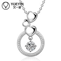 austria stamps - Women Trendy Fashion Necklace With Austria Crystal heart necklace circle Pendants Silver Link Chains For Women With Stamp