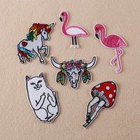 achat en gros de jeans couture-6X Broderie Coton Cat Unicorn Horse Flamingo Sew Iron On Patch Badge Sac Jeans Applique Livraison gratuite