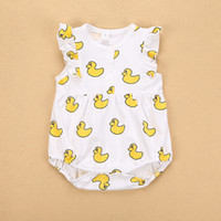Wholesale INS hot selling style New Arrivals summer baby kids yellow duck print romper baby kids cotton boy girl short sleeve romper T