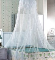 Wholesale HIG Mosquito Net Bed Canopy with Lace Dome The size of the grid bedding white