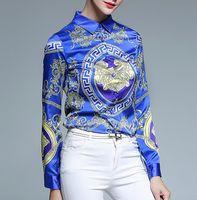 america business - Europe America women casual elegant long shirts fashion printed Lady slim blouse business shirt tops plus size S XXL