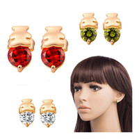 baby earrings bear - Sweet Jewelry Baby Bear Stud Earrings Natural Crystal Fashion Small Stud Earrings Birthday Gift Animal Earrings for Women