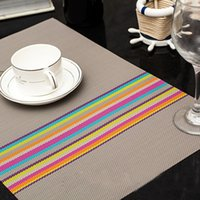 Wholesale Rainbow Table Mat for Home Decoration Mats of PVC Kitchen Accessories E6 Optional Colors Grey PVC Placemat On Sale