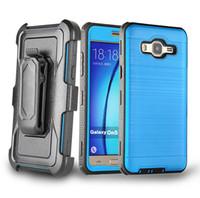 Para Samsung Galaxy On5 G550 S7 borde Grand Prime G530 Más nuevo duradera cinturón clip Combo funda cepillado metal Kickstand híbrido caso bolsa Opp