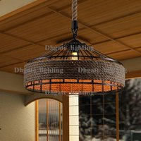 america kitchen - Vintage America Country Iron Edison Rope Pendant Lights Vintage Restaurant Lamp Industrial Hemp Pendant Lamps Rope Light