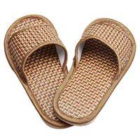 bamboo sandal - Durable sandals men Summer House Indoor Antiskid Slippers Bamboo Leisure Man Women