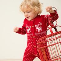 baby navy hat - Newborn Baby Romper O neck Long Sleeve Christmas Sweaters Hats Coat Deer Animal Santa Red Navy Unisex Cotton