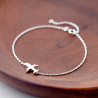 Vintage/Trendy/Classic/Fashion airplane setting - 5pcs Real Sterling Silver Jewelry Matte Aircraft Airplane Pure Silver Chain Bracelet Adjustable Charm Women Gift pulseras de plata