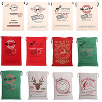 Wholesale 2017 Christmas Gifts Sack Bags styles for choose Christmas Large Canvas Monogrammable Santa Claus Drawstring Bag With Reindeers Xmas gift