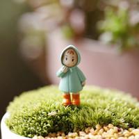 Wholesale 2PCS Cute Mini Figurines Miniature Girl Mei Resin Crafts Ornament Fairy Garden Gnomes Moss Terrariums Home Decorations