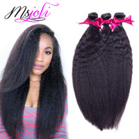Wholesale 7A Malaysian virgin human hair Unprocessed kinky straight yaki natural color three bundles pics queen hair double weft from msjoli