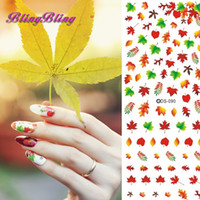 Wholesale DIY Nails Art Sticker Nail Wraps Water Transfer Decals Manicure Sexy Colorful Maple Leaf Pattern