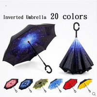 Wholesale Creative Inverted Umbrellas Double Layer With C Handle Inside Out Reverse Windproof Advertising Umbrella colors