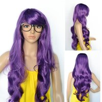 Coiffures des filles frange Prix-Lady Girls Longue Ondulé Cosplay Dark Purple Hair Side Bangs Hairstyle Wig