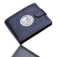 bifold wallet pattern - Mens Gentleman Pharaoh Pattern Texture Black Real Genuine Leather Bifold Zipper Pocket Wallet Credit Card for Clutch Pouch Purse