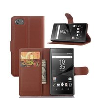 Wholesale New Litchi pattern PU leather wallet shockproof flip stand case for sony z5 z5premium z5 compact z2 z3 z4 compact DHL