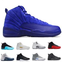 Wholesale With Box Hot Cheap Air Retro XII Mens Basketball Shoes Sneakers Women White TAXI Flu Game gamma blue Playoff flint French Blue Cool Grey