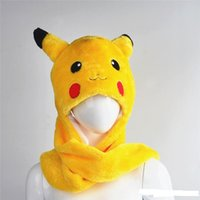 Wholesale Pikachu Poke mon Go Scarf Hat Gloves Set Cute Cartoon Plush Hats Animal Christmas Plush Winter Hat Caps