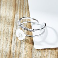 Wholesale CARA Sterling Silver Jewerly Rings Shell flower silver ring with zircon stones Opening Adjustable Ring For Women