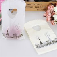 Wholesale Hot Sale New Style Eiffel Tower Plastic Gift Bags With Handles Mini Jewelry Gift Bags