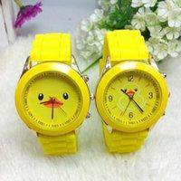 al por mayor reloj amarillo ginebra-Los relojes calientes de los deportes de la venda del silicón del patrón del pato de los relojes del cuarzo de Ginebra calientes para los muchachos de los muchachos embroma el ENVÍO LIBRE de Yellow Dropship