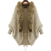 batwing knitwear - 2016 Fall Winter Cardigan Poncho Fur Collar Outerwear Women Sweater Knitted Brand Batwing Sleeve Casual Knitwear Jacket Christmas Wear