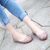 Wholesale summer breathable crystal bling plastic jelly shoes cutout flat heel bird nest mesh bird nest female flat sandals