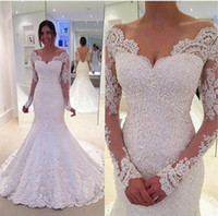 Wholesale Sexy Off Shoulder Beaded Lace Long Sleeve Mermaid Wedding Dresses Vintage Court Train Ivory Tulle Backless Custom Made Bridal Gowns