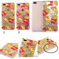 Fries Cat líquido 3D Bling Rhinestone bolas de plástico duro caso para iphone 7 más 6 6S Floating Glitter Sparkle suave TPU Diamond Back Skin Cover