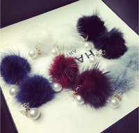 Wholesale 2016 new women natural mink wool with temperament fashion Korean earrings five colors pairs for sale